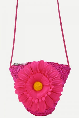 Hot Pink Flower Embellished Straw Crossbody Bag - YOU ARE MY POISON