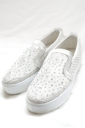 Mesh Body Bijou Shoes (White) - YOU ARE MY POISON