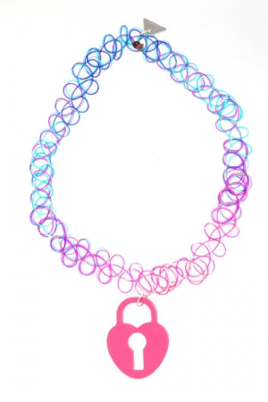 XTS Love Locks Tattoo Necklace (Deep Pink) - YOU ARE MY POISON