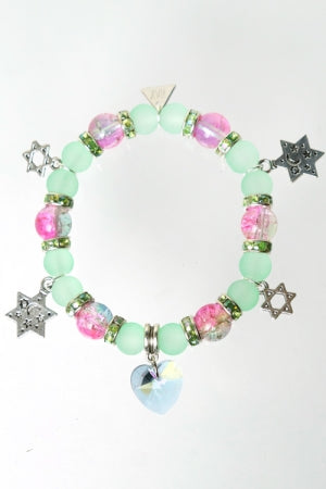 XTS Heart Crystal L.Green Bracelet - YOU ARE MY POISON
