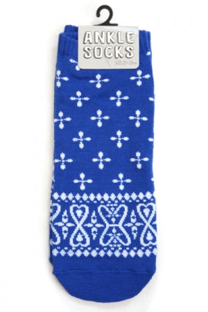Mens Ankle Socks (Bandana Navy) - YOU ARE MY POISON