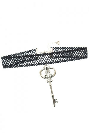 XTS Mesh Lace Ribbon Key Choker - YOU ARE MY POISON