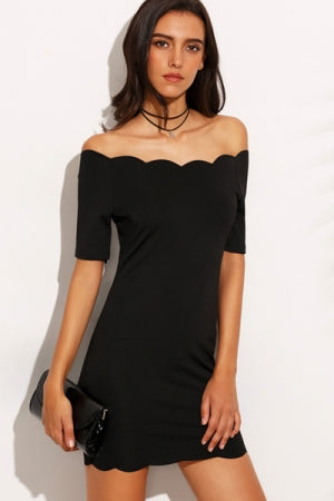 Black Off The Shoulder Scallop Hem Bodycon Dress - YOU ARE MY POISON