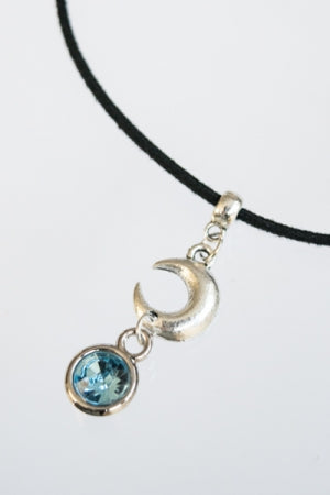 XTS Moon Crystal Suede Cord Choker (Light Blue) - YOU ARE MY POISON