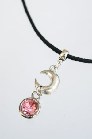 XTS Moon Crystal Suede Cord Choker (Pink) - YOU ARE MY POISON