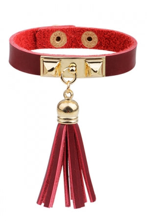 Leather Studs Tassel Bracelet (Red) - YOU ARE MY POISON