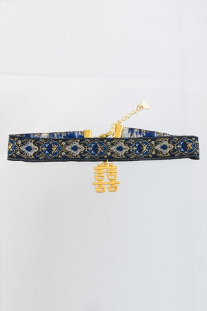 XTS Double Happiness Blue China Ribbon Choker - YOU ARE MY POISON