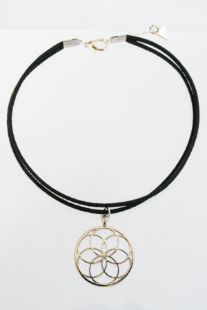 XTS 7 Circles Silver Suede Cord Choker - YOU ARE MY POISON