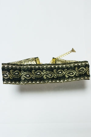 XTS Paisley Black Gold Wide Ribbon Choker - YOU ARE MY POISON