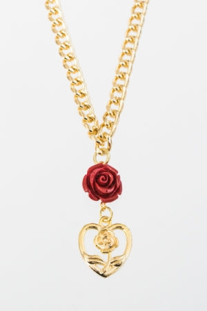 XTS Rose Hearts Gold Chain Necklace - YOU ARE MY POISON