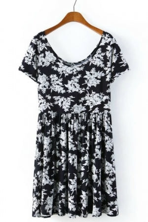 Mono Flower Mini Dress - YOU ARE MY POISON