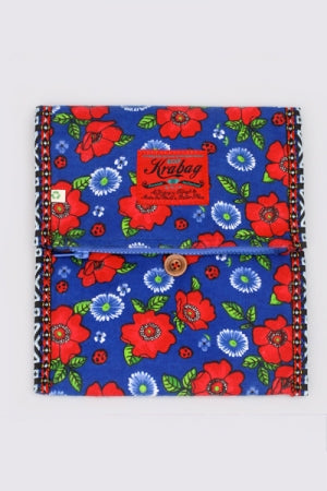 KRAVITZ CLUTCH(1-1034) Blue/Red Flower - YOU ARE MY POISON