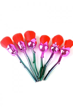 Roses Makeup Brush 6pcs Set (Red) - YOU ARE MY POISON