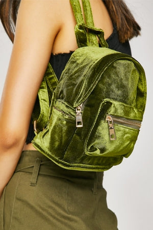 Green Velvet Mini Backpack - YOU ARE MY POISON