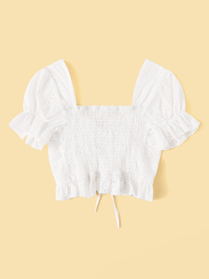 Frill Puff Sleeve Top (White)