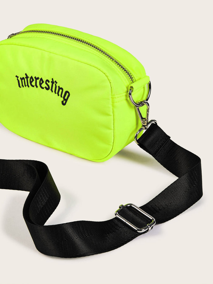 Logo Embroidery Crossbody Bag (Neon Lime)