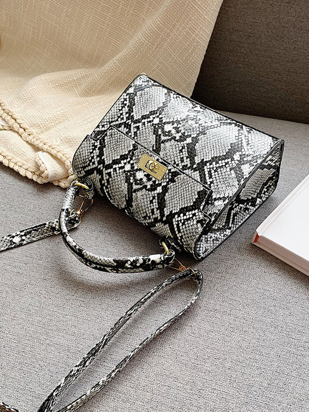 Snakeskin Print Satchel Bag (White)