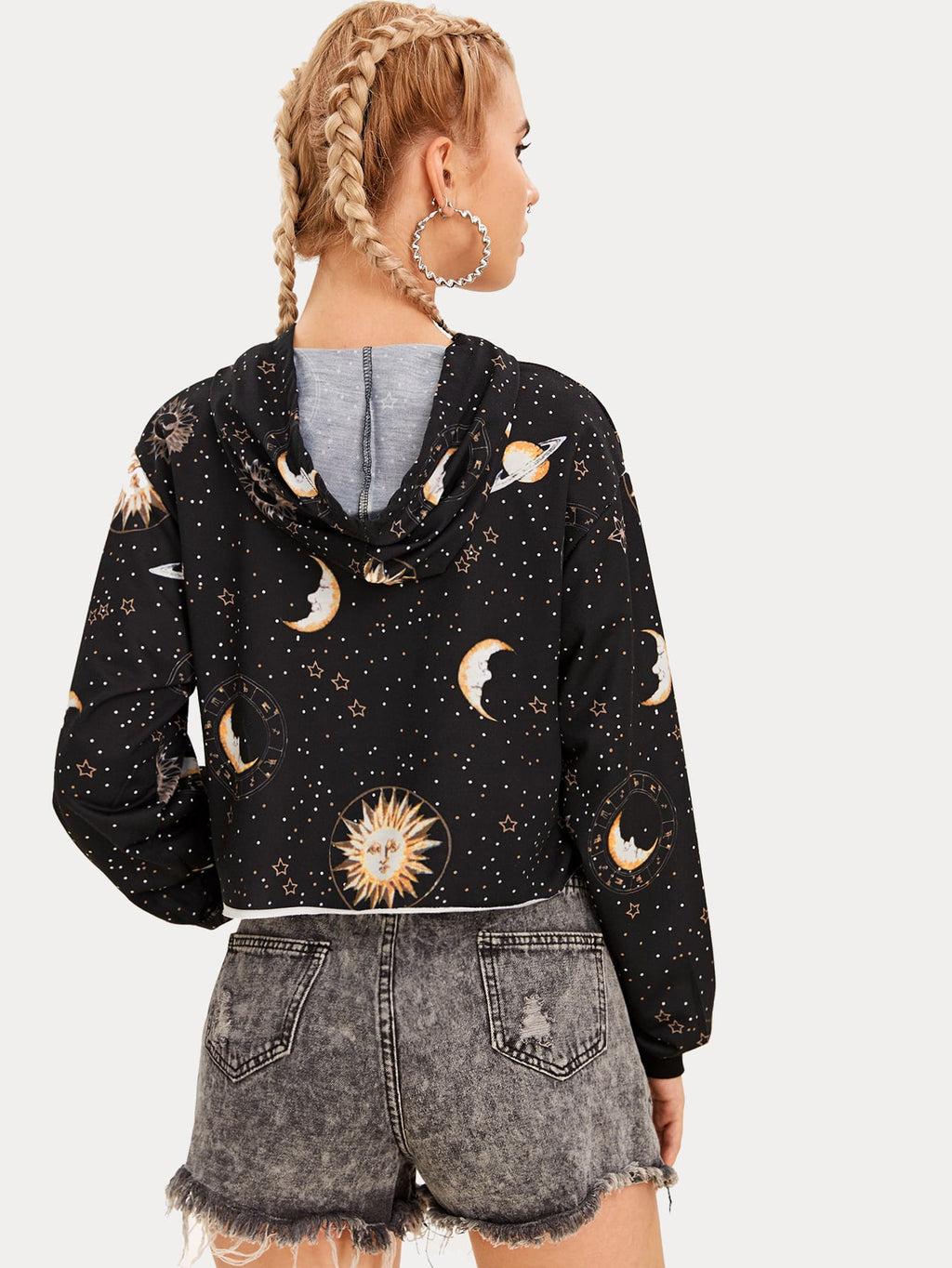 Sun And Moon Drawstring Hooded Sweatshirt
