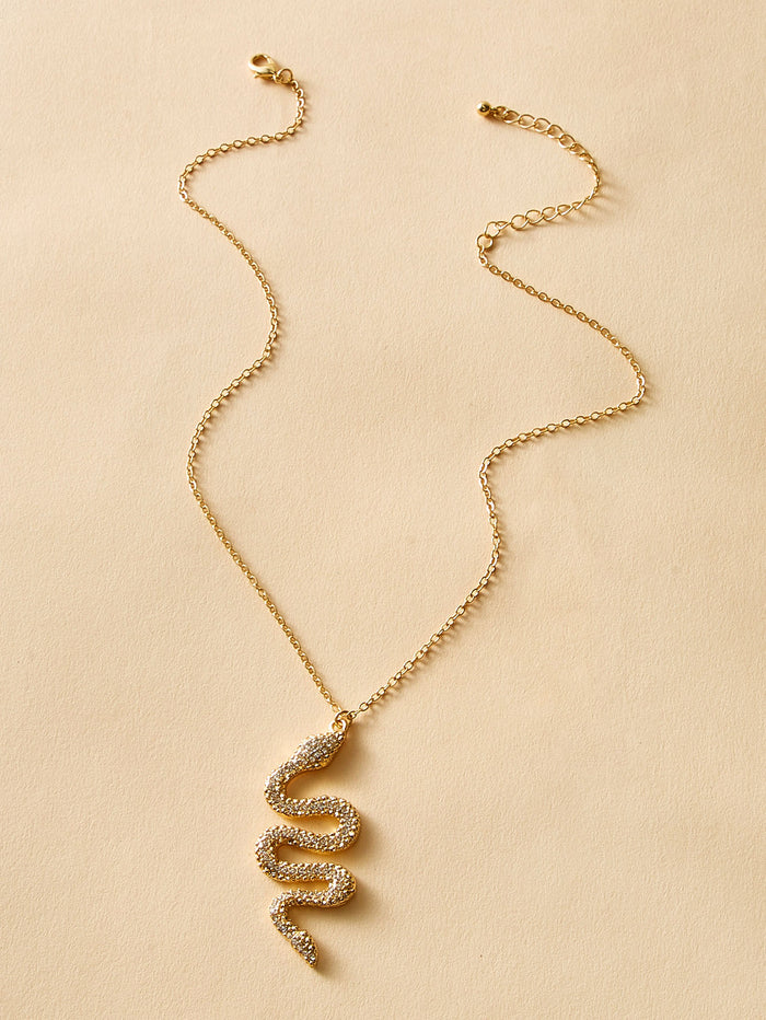 Snake Charm Necklace (Gold)