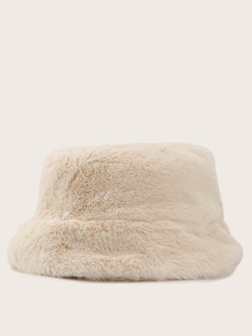 Solid Fluffy Bucket Hat (White)