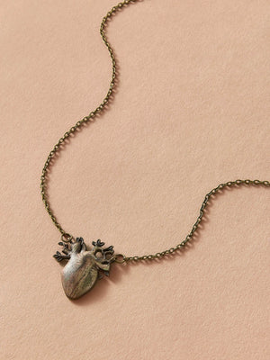 Heart Pendant Necklace (Antique Gold)
