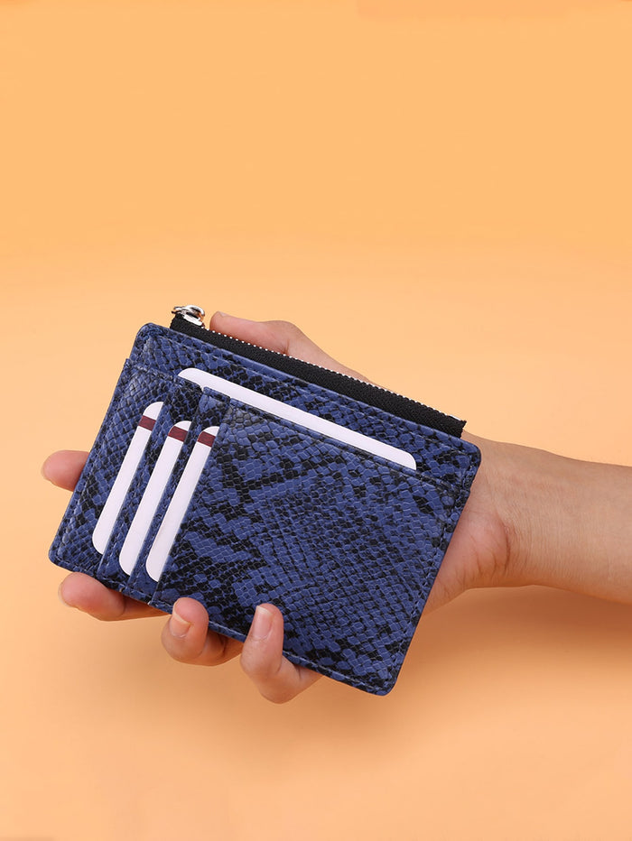 Snakeskin Purse With Card Holder (Blue)