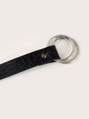 Croc Pattern Knot Decor Belt (Black)