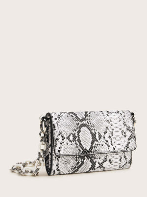 Snakeskin Flap Tote Bag (White)