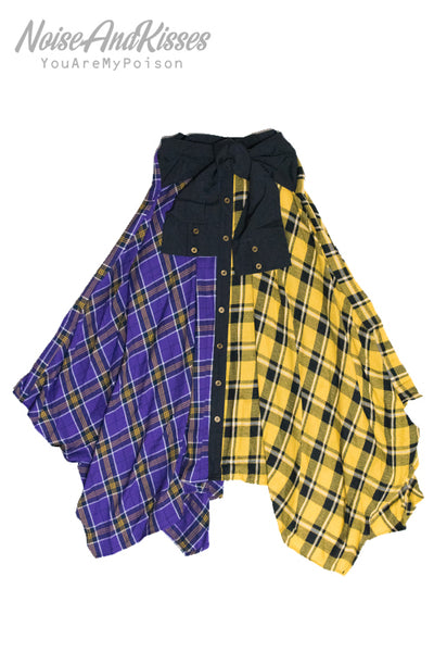 2 Tone Color Plaid Check Long Skirt (2 Style)