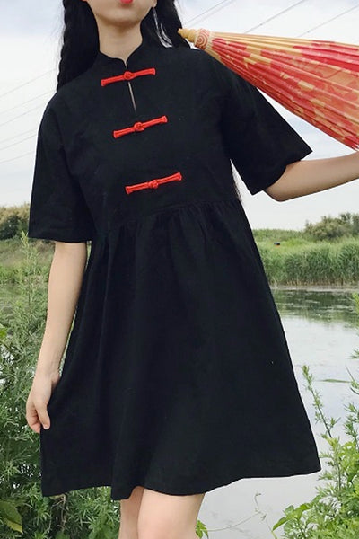 3 China Button Casual S/S Mini Dress (2 Colors)
