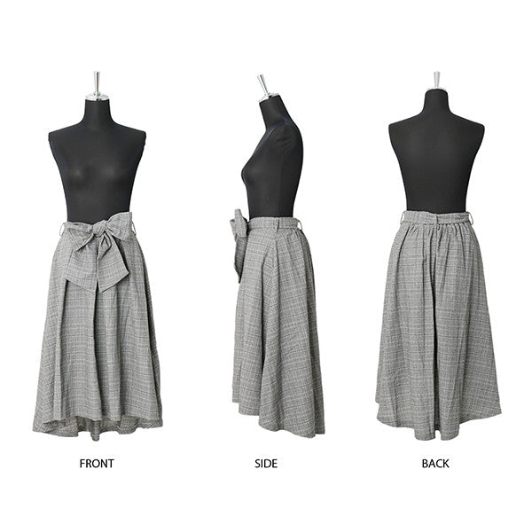 Plaid Tail Cut Ribbon Medium Skirt (Gray)