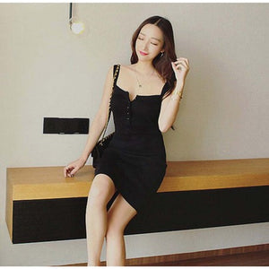 No Sleeve Rib Knit Tight Dress (Black)