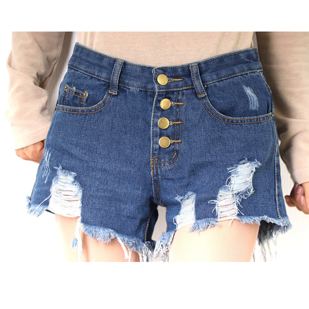 Damaged Denim Short Pants (2 color)