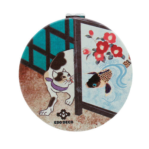 Shareneko Japanese Cat Compact Mirror Circle (Koi Fish)