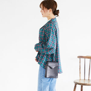 Open Collar Volume L/S Shirt (Green Plaid)