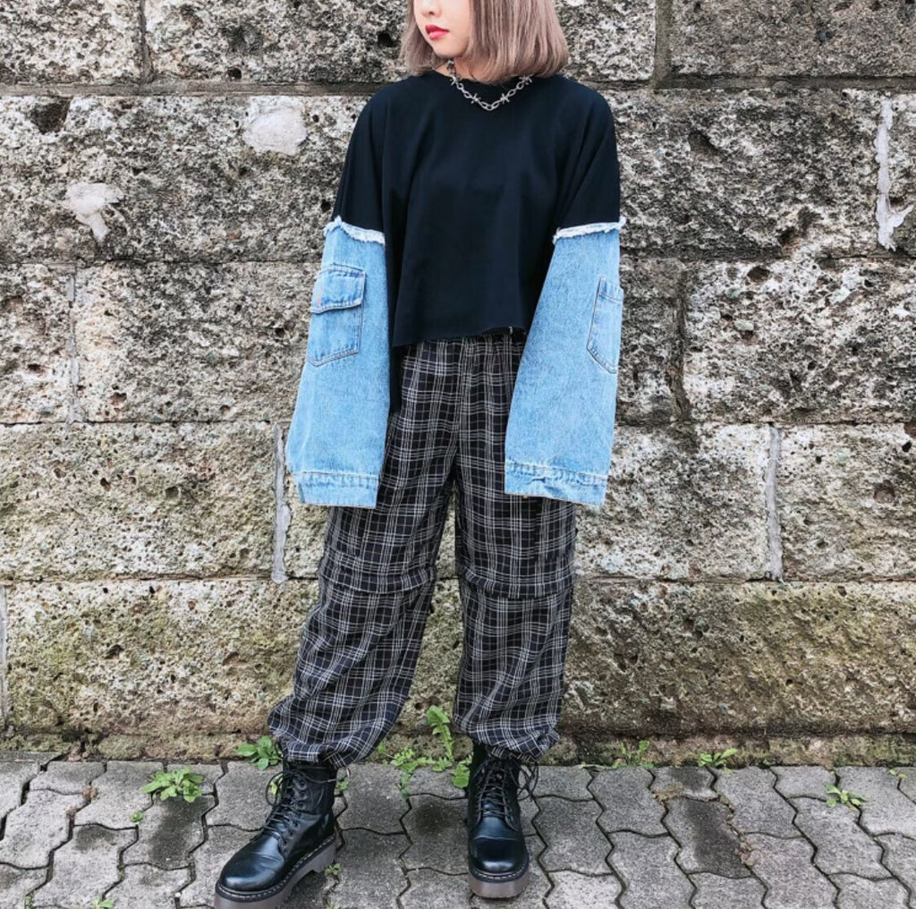 Separate Check Plaid Cargo Pants