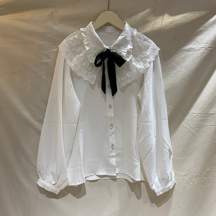 Lace Collar Bow Tie L/S Shirt (White)
