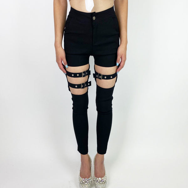 Belt Skinny Leggings Pants (Black)