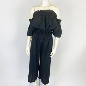 Off-shoulder Tops And Wide Pants Setup (Black)