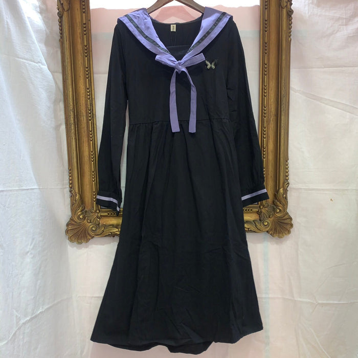 Butterfly Patch Bow-Tie Dress (Black)