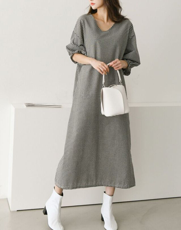 Gingham check All-over Dress (Black)
