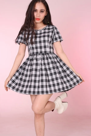 Glitters For Dinner Black & Grey Tartan Baby Doll Dress - YOU ARE MY POISON