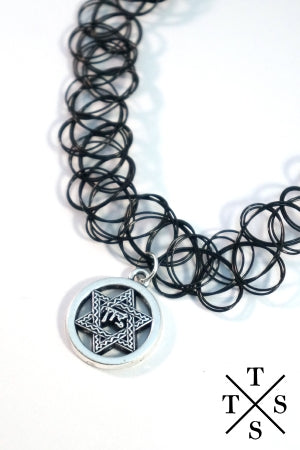 XTS Jaggy Hexagram  Black Tattoo Necklace - YOU ARE MY POISON