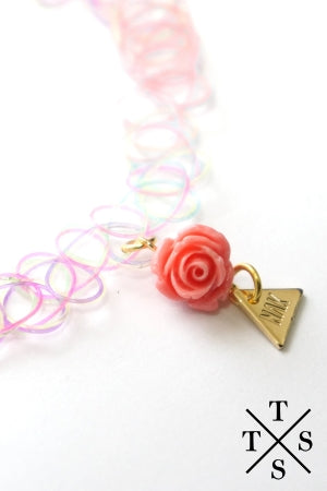 XTS Pink Rose Tattoo Necklace - YOU ARE MY POISON