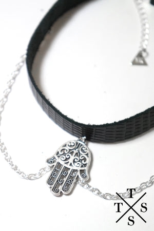 XTS Leather Chain Choker (Hamsa) - YOU ARE MY POISON