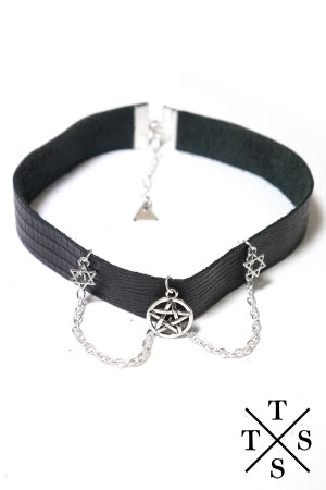 XTS Leather Chain Choker (Pentagram&Hexagram) - YOU ARE MY POISON