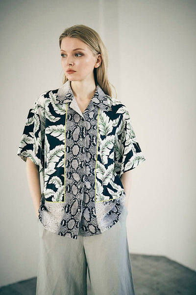 ABBY EYE Blocking Aloha Shirt (Black)
