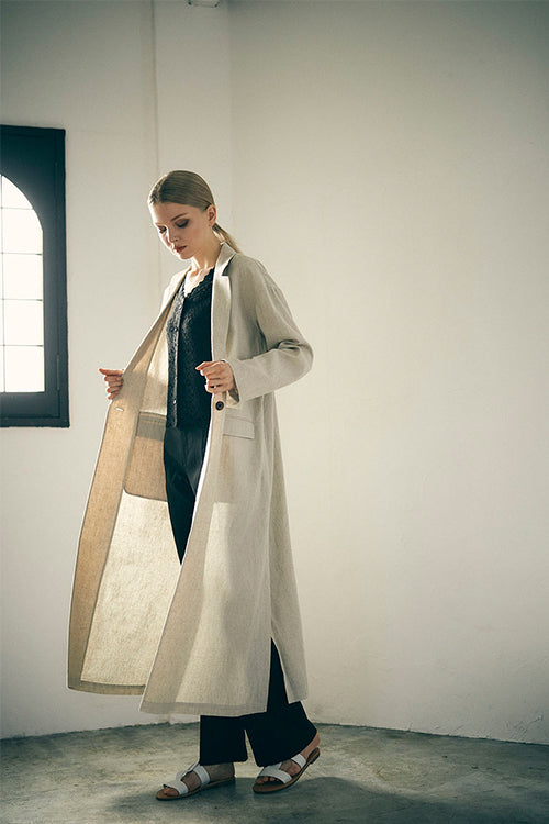 ABBEY EYE Linen Long Tailor Coat (Ivory)