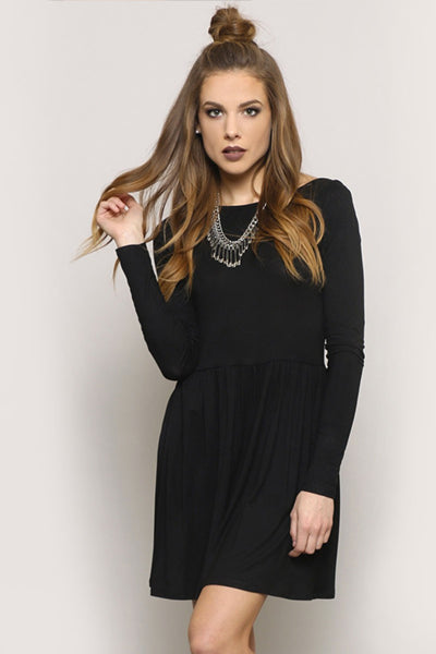 AUTUMN MINI DRESS - BLACK