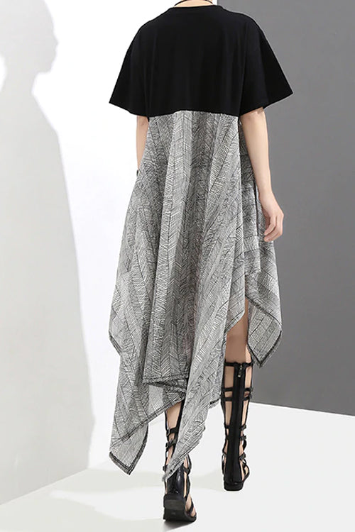 Asymmetrical Gray Skirt Dress (Black)